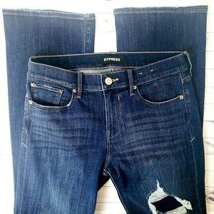 Express Mid Rise Boot Cut Distressed Jean